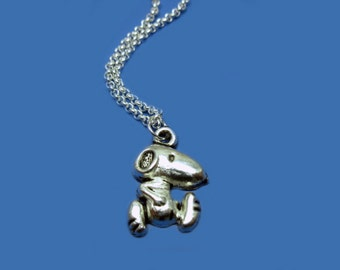 Puppy Dog Necklace - stainless steel chain cute necklace retro jewelry funny necklace animal fun old school kawaii necklace szeya designs