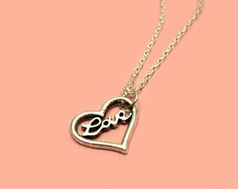 Love Heart Necklace - stainless steel chain mini heart necklace tiny heart necklace cute necklace romantic jewelry kawaii love necklace