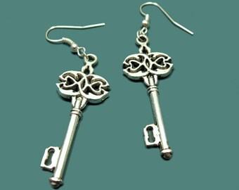 Key To The Wonderland Earrings - retro key earrings skeleton key earrings vintage inspired antique style jewellery victorian gothic earrings