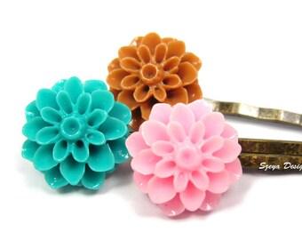 Flower Bobby Pins - shabby chic flower hair clip trio teal flower coffee green brown pink floral cute bobby pin cute hair clip szeya designs