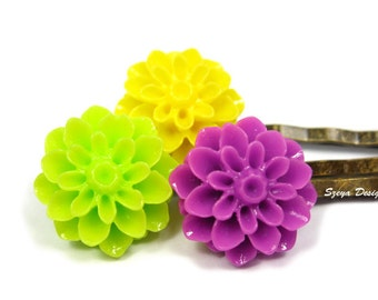 Gardenia Flower Bobby Pins - flower hair clip trio romantic bobby pin barrette cute bobby pin bronze retro bobby pin green purple yellow
