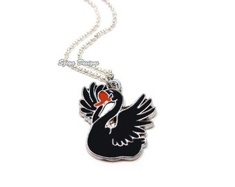 Swan Necklace - stainless steel chain animal necklace bird necklace cartoon cute necklace fun kitsch kawaii necklace silver tone