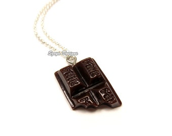 Chocolate Bar Necklace - stainless steel chain cute necklace food necklace chocolate lolita kawaii necklace quirky necklace funky necklace