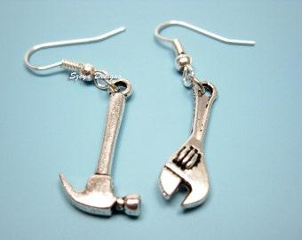 Hammer Spanner Earrings - geek earrings funny earrings quirky earrings rockabilly jewelry funky earrings punk earrings kawaii cute earrings