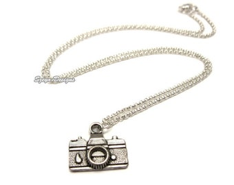 Camera Necklace - stainless steel chain geek necklace cute necklace nerdy quirky jewellery funny jewelry geeky necklace photo photographer