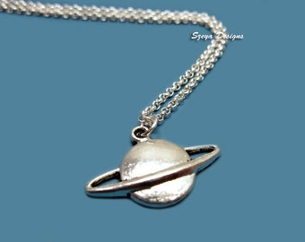 Saturn Necklace - stainless steel chain planet necklace science geek jewelry nerd jewellery cute necklace quirky funny necklace space galaxy