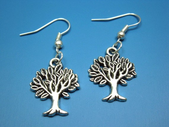 Tree Earrings - geek chic jewelry cute earrings nature jewellery retro earrings vintage style leaf earrings vegan vegetarian funky earrings