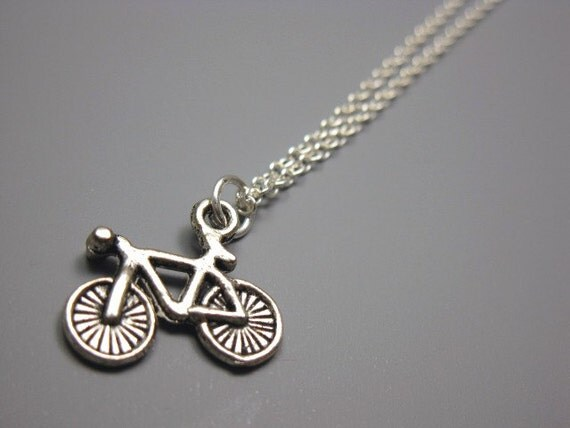 Bicycle Necklace - stainless steel chain retro bike necklace geek jewellery nerd jewelry funny necklace tiny cute necklace quirky necklace