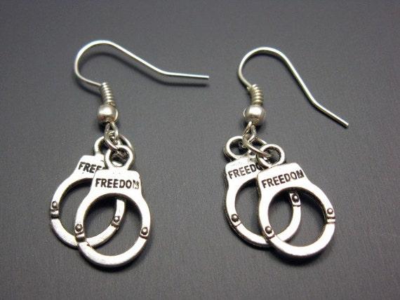 Handcuffs Earrings - hand cuffs earrings punk jewelry cute earrings funky earrings punkrock jewelry emo gothic quirky earrings funny jewelry