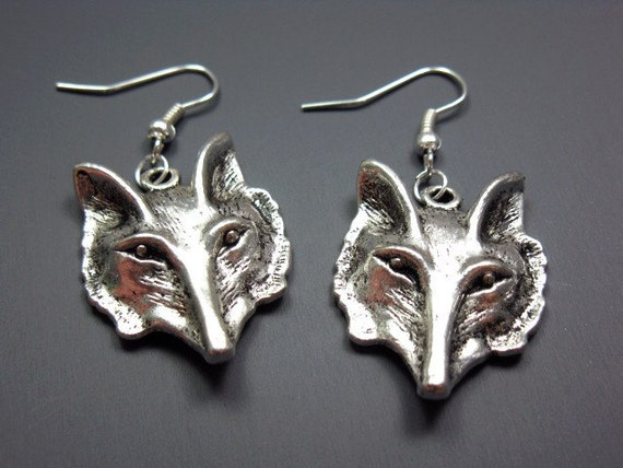 Fantastic Fox Earrings - forest woodland animal earrings funky jewellery punk rock rockabilly jewelry kitsch quirky earrings silver plated