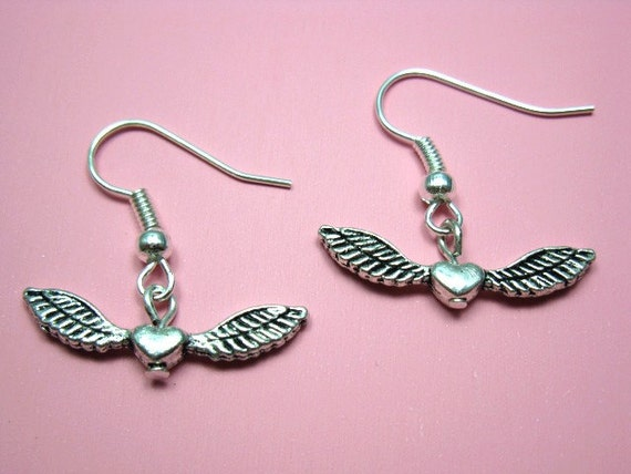 Winged Heart Earrings - cute earrings tiny mini heart angel wing earrings kawaii jewellery minimal earrings kitsch earrings silver plated