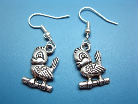 Bird Earrings - bird on branch earrings bird earrings cute earrings kawaii jewelry kitsch jewellery funny earrings silver plated