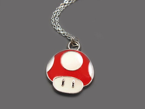 Power Up Mushroom Necklace - stainless steel chain geek nerd jewelry geeky nerdy retro punk rock funky funny necklace quirky cute necklace