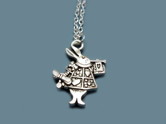 Alice In Wonderland Rabbit Necklace - stainless steel chain cute necklace bunny necklace retro jewelry quirky necklace funny kawaii lolita
