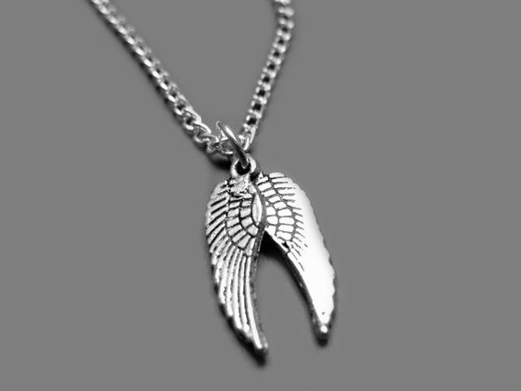 Angel Wings Necklace - stainless steel chain small feather necklace mini cute necklace kawaii necklace goth gothic necklace emo necklace