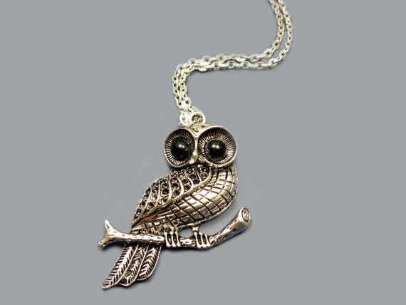 Big Eyed Owl Necklace - stainless steel chain animal jewelry cute necklace bird necklace bird on branch tree rockabilly classic retro style