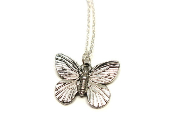 Butterfly Necklace - stainless steel chain simple jewelry cute necklace chic antiqued silver bridal jewelry bridesmaid gift wedding favors