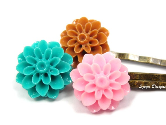 Flower Bobby Pins - shabby chic flower hair clip trio teal flower coffee green brown pink floral cute bobby pin cute hair clip szeya designs