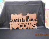 "Wooden ""I LOVE COWS"" plaque"