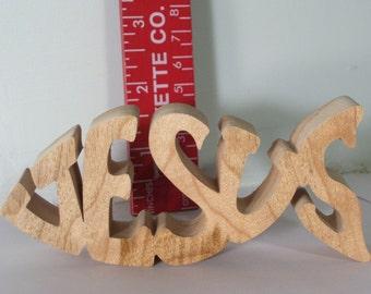 Small Jesus Fish Shelf Sitter, American hardwood, 5 Inches Long