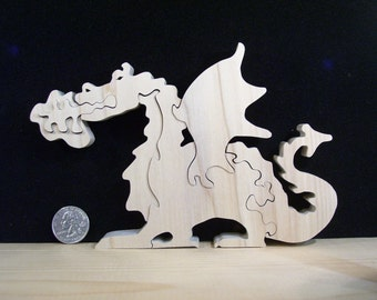 Wooden Fire Breathing Dragon Puzzle Poplar Hardwood