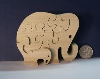 Wooden Elephant & Baby Puzzle Poplar Hardwood
