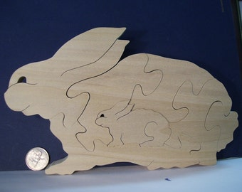 Bunny With Babies Wooden Puzzle Poplar Hardwood