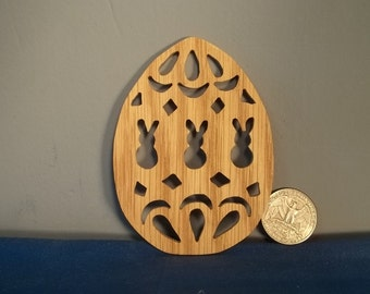 Wooden Easter Egg with Bunnies Ornament
