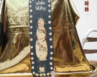 Hand-painted Snowman Plaque Key Holder, stockings