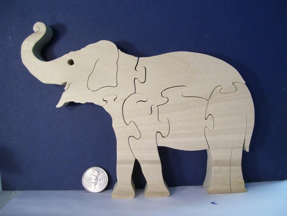Wooden Elephant Puzzle Poplar Hardwood