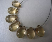 AAA flawless smooth polished Champagne Citrine pear briolettes  x7