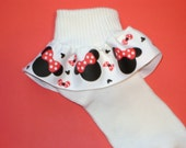 Minnie Mouse Disney Inspired Red Grosgrain Ribbon Ruffle Socks