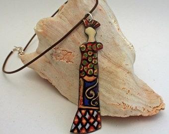 Art Doll, Enamel jewelry, Viterous Enamel , Enamel pendant