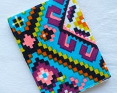 Reserved for bananaghost...bright and graphic repurposed fabric passport cover