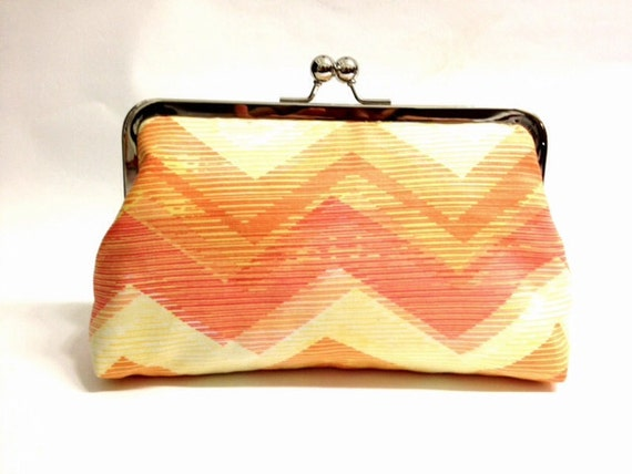 Citrus bliss-   8 inch metal frame clutch purse