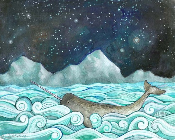 "Narwhal Print from my Nautical Illustration 8""x10"", 5""x7"", 9""x12"" or 11""x14"" - Children's Room Decor - Narwhal & the Milky Way"