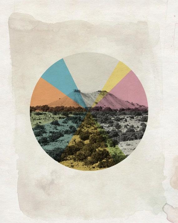 Desert Collage Print - Modern Style Geometric Wall Art