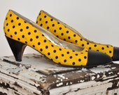S A L E Great Black and Yellow Polka Dot Heel Size 8 was 19.00