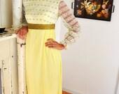 AMAZING 1960's Prairie Folk Yellow Floral Dress