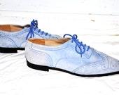 AMAZING Unique Vintage Light Blue Suede Oxford Shoes