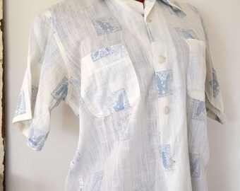 Vintage White and Blue Button up Shirt Unisex