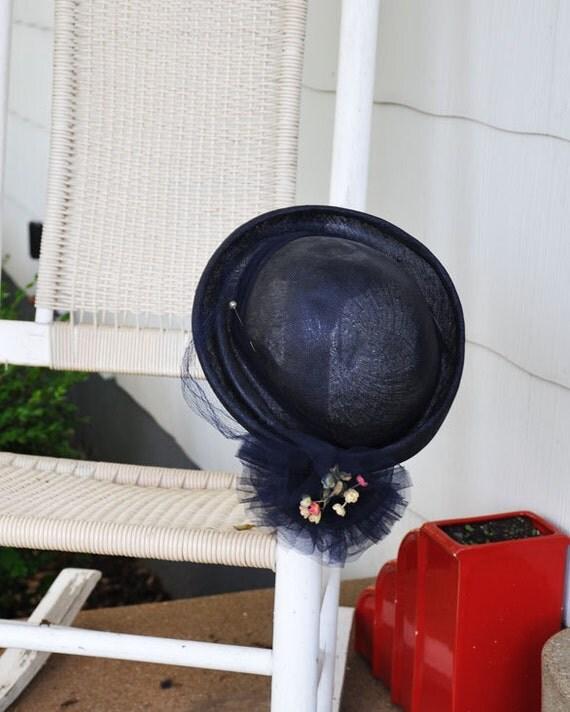 R E S E R V E D FOR REXITIN R E S E R V E D  Beautiful Vintage Navy Blue Floral Tulle Hat