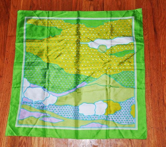 AMAZING Retro Bright Psychedelic Scenery Silk Scarf