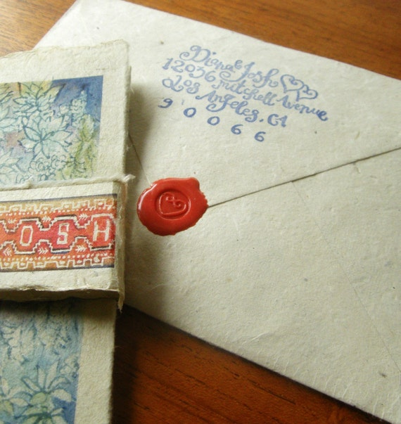 Matching Custom Calligraphy Return Address Rubber Stamp