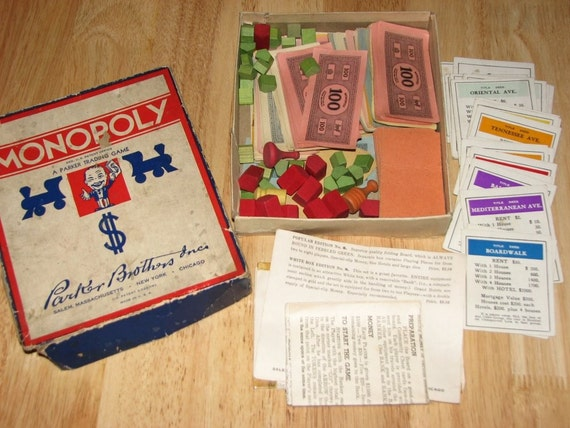 old 1936 antique Monopoly Set - wooden houses hotels and game pieces