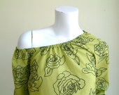 Rose Print Green Tunic  Ladies Top