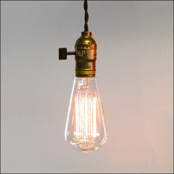 Vintage Minimalist - Single Bare Bulb Pendant with two free bulbs
