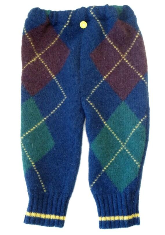 Upcycled Wool Longies, medium, blue argyle front