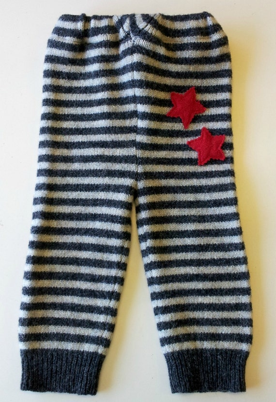Upcycled Wool Longies, medium, grays and red, Stars and Stripes