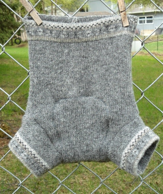 Upcycled Wool Diaper Cover, Shorties, medium, extra layer, gray